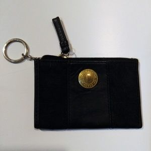 COACH Black Leather & Jacquard Coin Purse Key Ring
